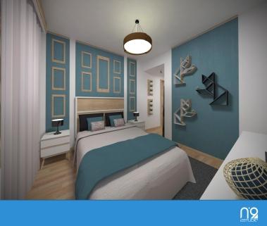 dormitorio cama y estanterías